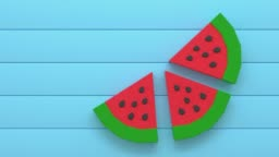 red green watermelon low poly cartoon style 3d rendering blue scene