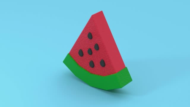 red green watermelon low poly cartoon style 3d rendering blue scene - eternità video stock e b–roll