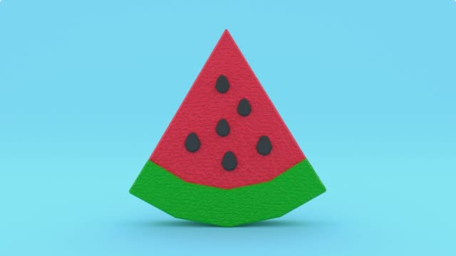 red green watermelon low poly cartoon style 3d rendering blue scene - illustration stock videos & royalty-free footage