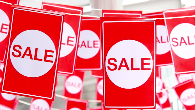 Red hanging sale labels