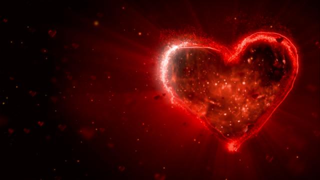 vídeos y material grabado en eventos de stock de rojo corazón en el negro bacground, día de san valentín. - tarjeta del día de san valentín