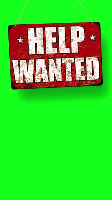 red help wanted business sign drops and swings down with room for copy below - classified ad stock videos & royalty-free footage