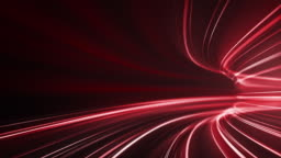 Red High Speed Light Streaks Background - Abstract, Data Transfer, Cyber Security- Loopable