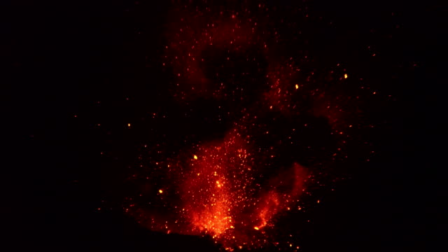 red hot lava explodes from crater of anak krakatau volcano at night in august 2018 - erupting stock videos & royalty-free footage