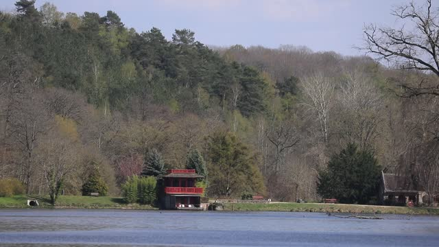 red house imitating a japanese pagoda at the edge of the pond of vaux near the abbaye des vaux de cernay on april 19, 2021 in cernay la ville,... - zen like stock videos & royalty-free footage