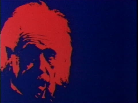 """1985 animation red image of albert einstein with  """"e=mc"""" appearing next to his head"" - アルバート・アインシュタイン点の映像素材/bロール"