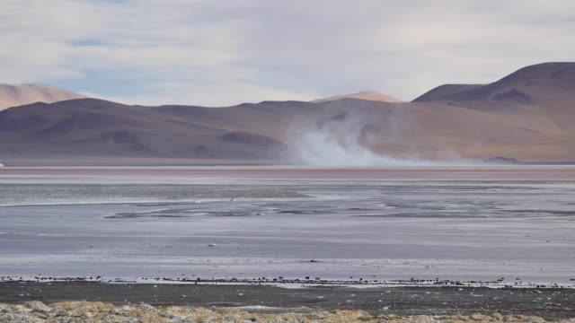 Red Lagune with salt storm in background