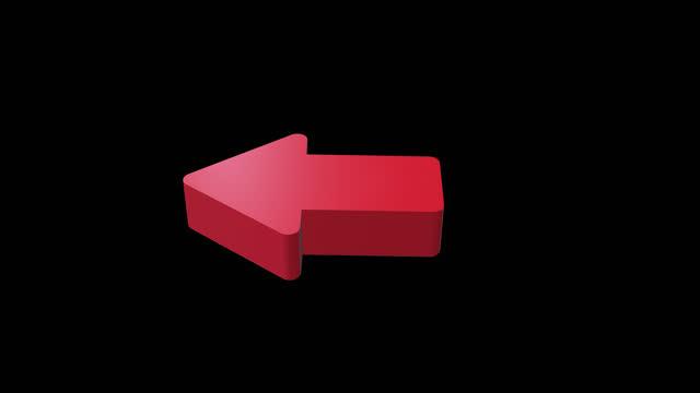 red left arrow alpha channel - 4k footage - arrow symbol stock videos & royalty-free footage