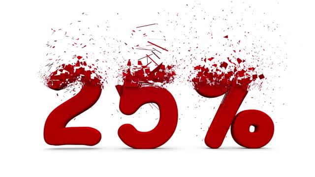 25% 3D roten Buchstaben nach sind.