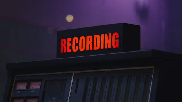 r/f red light on the recording sign in the studio - fade in video transition stock videos & royalty-free footage