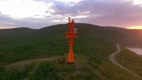 red lighthouse with radar. coastal surveillance radar antenna - control stock videos & royalty-free footage