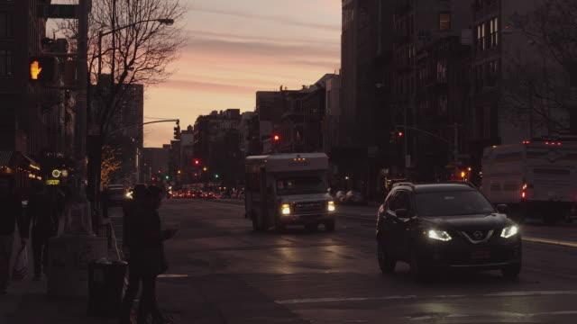 Red Lights Down Bowery Street in Manhattan