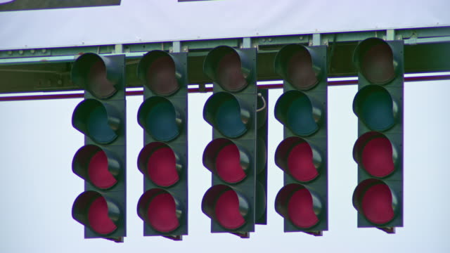 ld red lights showing on the start light at the formula race - repetition stock videos & royalty-free footage