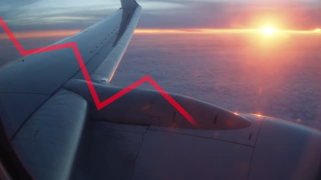 red line crisis chart falling down with airplane wing at sunset on the background. airline industry crisis concept during covid-19 coronavirus - commercial aircraft stock videos & royalty-free footage