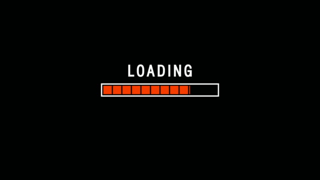 red loading bar indicator on dark background screen animation - loading screen stock videos & royalty-free footage
