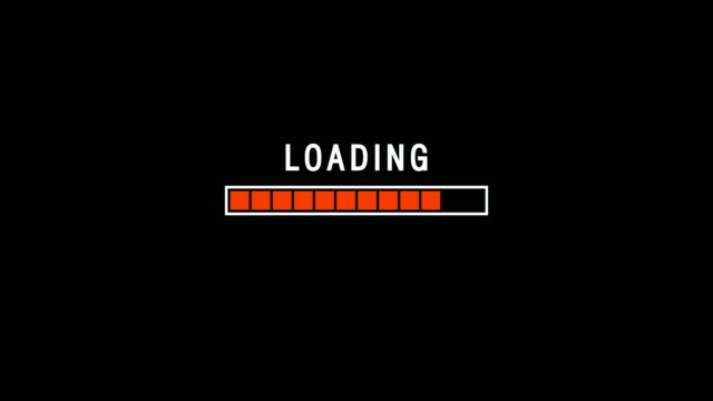 red loading bar indicator on dark background screen animation - loading stock videos & royalty-free footage