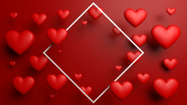 red lovely dinamic looped hearts with frame - retro poster stock videos & royalty-free footage