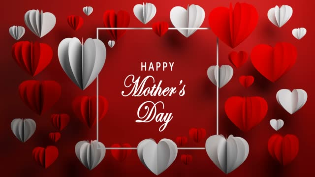 red lovely happy mother's day heart shape concept - mother's day stock videos & royalty-free footage
