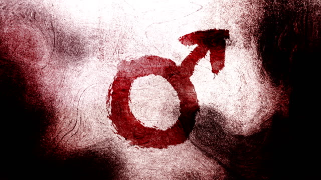 red mars, male, gender symbol on a high contrasted grungy and dirty, animated, distressed and smudged 4k video background with swirls and frame by frame motion feel with street style for the concepts of gender equality, women-social issues - gender symbol stock videos and b-roll footage