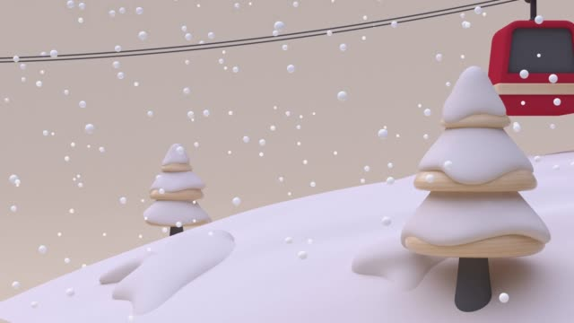 red mountain lift cartoon wood cream white snowing winter season new year christmas concept 3d rendering - illustration stock videos & royalty-free footage