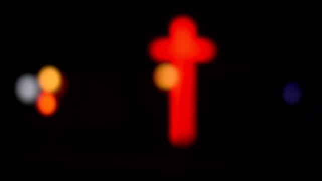 Roter Neon Kruzifix, Kreuz, Lichter, Schwarzer Hintergrund