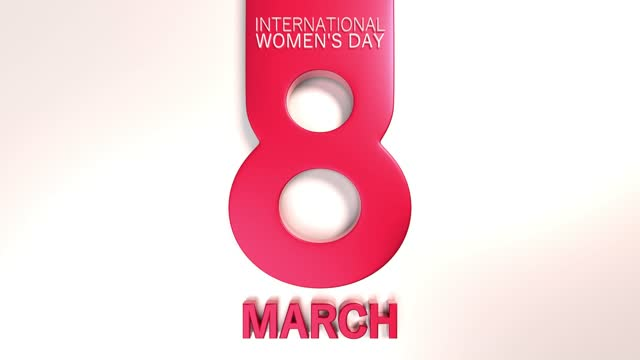 red number 8 to celebrate 8 march international women's day on white animation in 4k resolution - number 8 stock videos & royalty-free footage