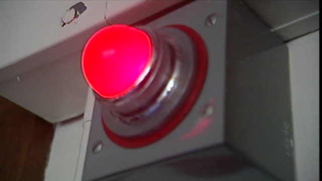las cu red 'on-air light' in a radio studio; 2001 - information sign stock videos & royalty-free footage