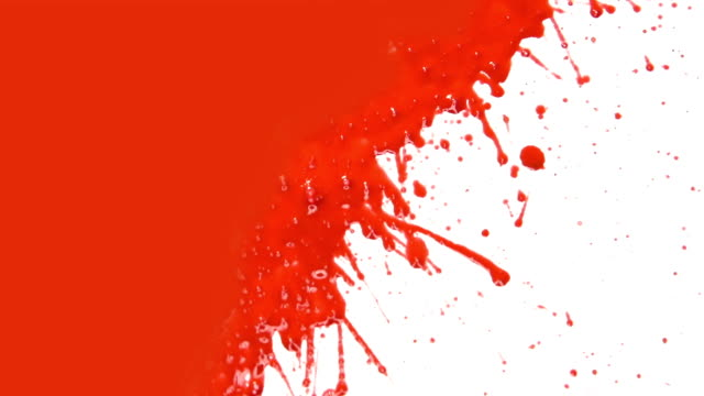 Red paint splattering. Transition.
