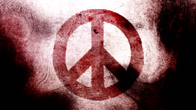 Red peace symbol on a high contrasted grungy and dirty, animated, distressed and smudged 4k video background with swirls and frame by frame motion feel with street style for the concepts of peace, world peace, no war, protest, and tranquility