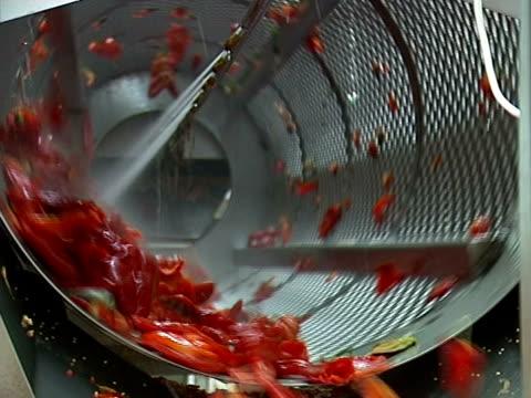 Rote Paprika auf der Förderanlage line