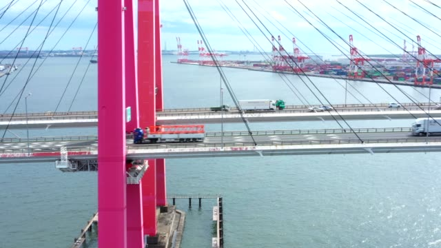 a red pillar suspension bridge - ponte video stock e b–roll