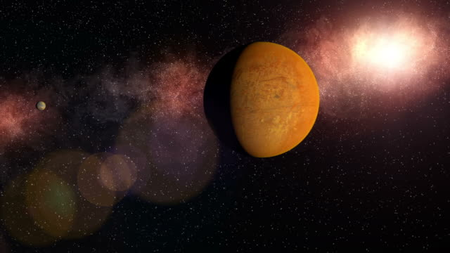 A red planet approaches from a red nebula and goes out of frame at right while a smaller celestial body exits at left