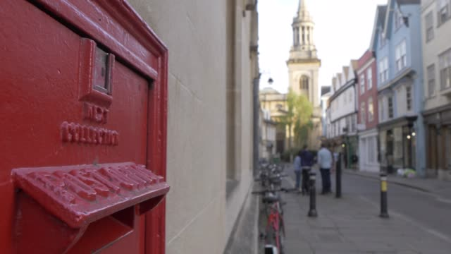 red post box, oxford, oxfordshire, england, united kingdom, europe - oxford england stock videos & royalty-free footage
