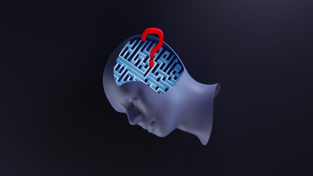 red question mark sign jumping over human head. 3d plastic model of head with maze inside. - human brain stock videos & royalty-free footage