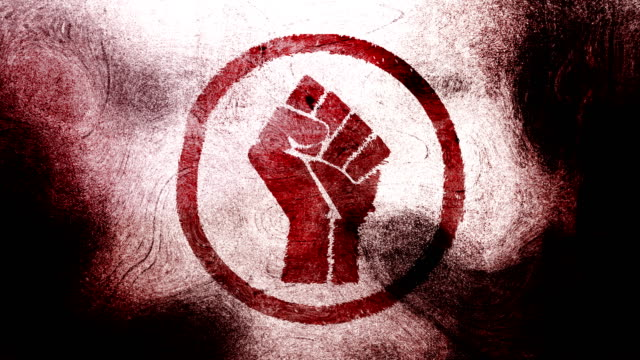 Red raised fist symbol on a high contrasted grungy and dirty, animated, distressed and smudged 4k video background with swirls and frame by frame motion feel with street style for the concepts of solidarity,support,human rights,worker rights,strength