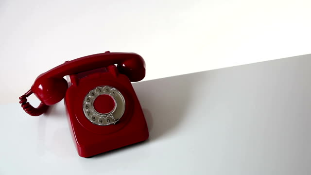 red retro phone answered. - telephone receiver stock videos & royalty-free footage