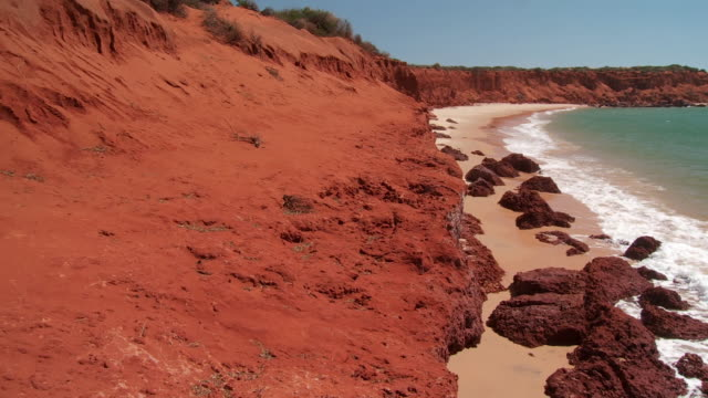 WS PAN Red rock coastline on beach / Denham, Western Australia, Australia