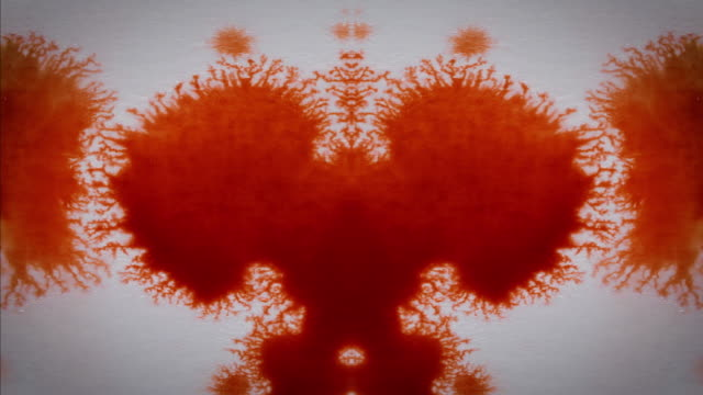 red rorschach test ink drop pattern - imagination stock videos & royalty-free footage