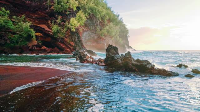 Red Sand Beach Sunrise Surf