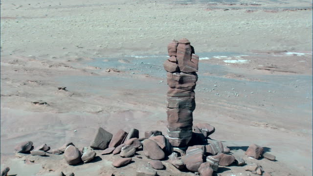 red sandstone pillar  - aerial view - arizona,  coconino county,  united states - sandstone stock videos and b-roll footage