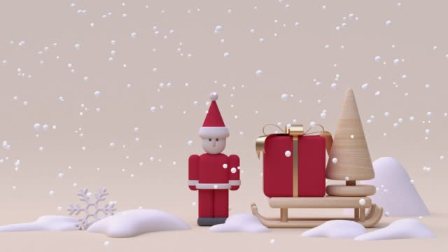 red santa claus gift box cartoon wood cream white snowing winter season new year christmas concept 3d rendering - illustration stock videos & royalty-free footage