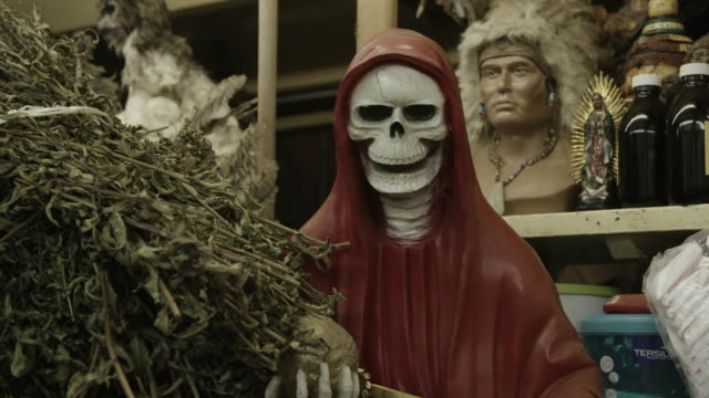 red santa muerte skull statue - afterlife stock videos and b-roll footage