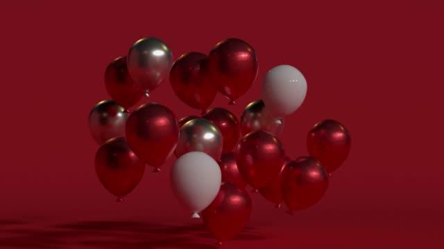 vidéos et rushes de scène rouge noel concept objet décoration d3 mouvement de rendu - ballon de baudruche