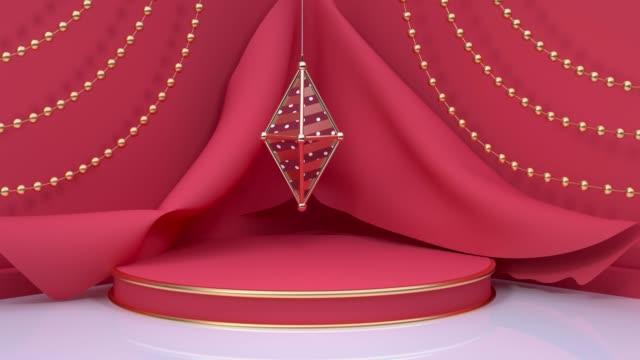 stockvideo's en b-roll-footage met rode scène vakantie kerst nieuwjaar concept 3d rendering motion ball opknoping - enkel object