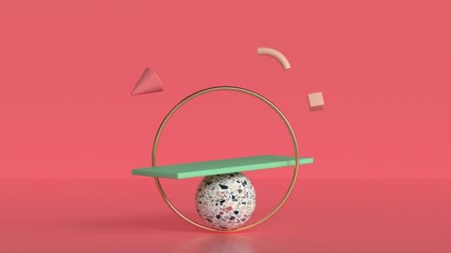 scena rossa marmo oro verde forma geometrica 3d rendering movimento astratto - motion graphics video stock e b–roll