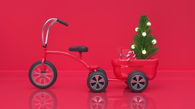 赤いシーン壁フロアスタジオショット3d レンダリング抽象的な動きクリスマスツリーホリデー新年ギフト/装飾コンセプト - 正月点の映像素材/bロール