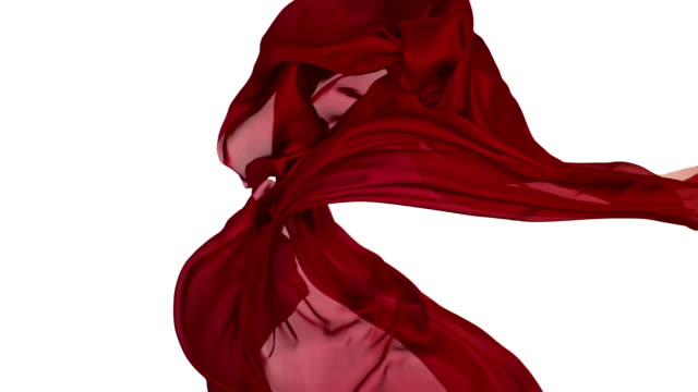 stockvideo's en b-roll-footage met red silky fabric flowing and waving horizontally in super slow motion and close up, white background - kunst