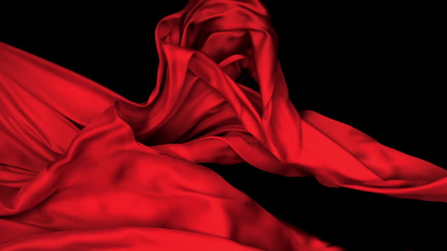 red silky fabric flowing and waving horizontally in super slow motion and close up, black background - waving stock videos & royalty-free footage