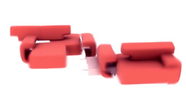 vídeos de stock e filmes b-roll de sofá vermelho fica loopable de alta definição (hd - sala de casa