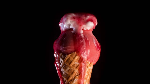 Red Sorbet Ice-Cream Cone Melting